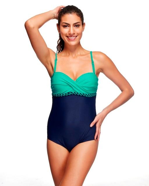 Bandeau Badpak.2016 Vrouwen Zwempak Monokini Fused Een Stuk Badpak Retro Bandeau