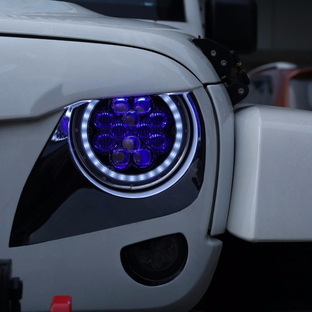Inch Led Halo Headlights With Purple Blue Drl Angel Eyes For Jeep Wrangler Tj on Jeep Wrangler Tj Led Headlights