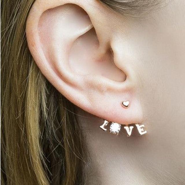 Korean Stud Earrings For Women Fashion Design Love Word Silver Gold Color Ear Jacket Cuff Jewelry