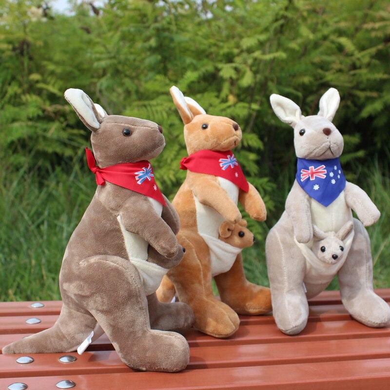 0eca5d4a1467 Australie kangourou en peluche jouet, sur 30 cm de bande dessinée kangourou  avec écharpe, doux oreiller jouet anniversaire surprise cadeau h2960