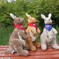Avustralya kanguru peluş oyuncak, yaklaşık 30 cm karikatür kanguru ile eşarp, yumuşak yastık oyuncak sürpriz doğum günü hediyesi h2960