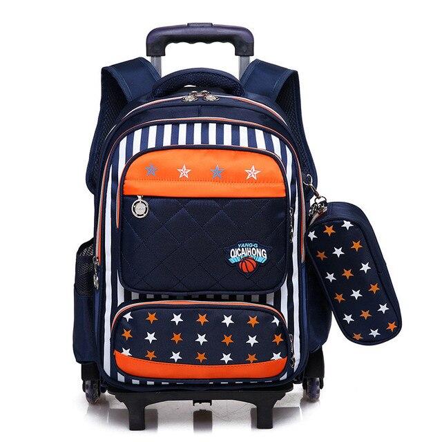 ce80f9977f9 Seis ruedas Flash niños Trolley bolsa mochila con ruedas mochila para niños  niñas estudiantes mochila de