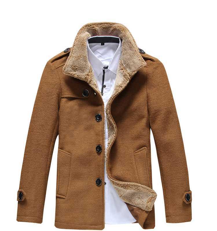 2015 New Fashion Men Jacket Lambs Wool Lining Coat Men Thick Warm Jacket Outerwear Fashion Slim ...