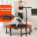 48 zoll Vierbett Klapp Turnhalle Fitness Achteckige Trampolin für Erwachsene Kinder Sicherheit Jump Sport mit Verstellbare Handlauf