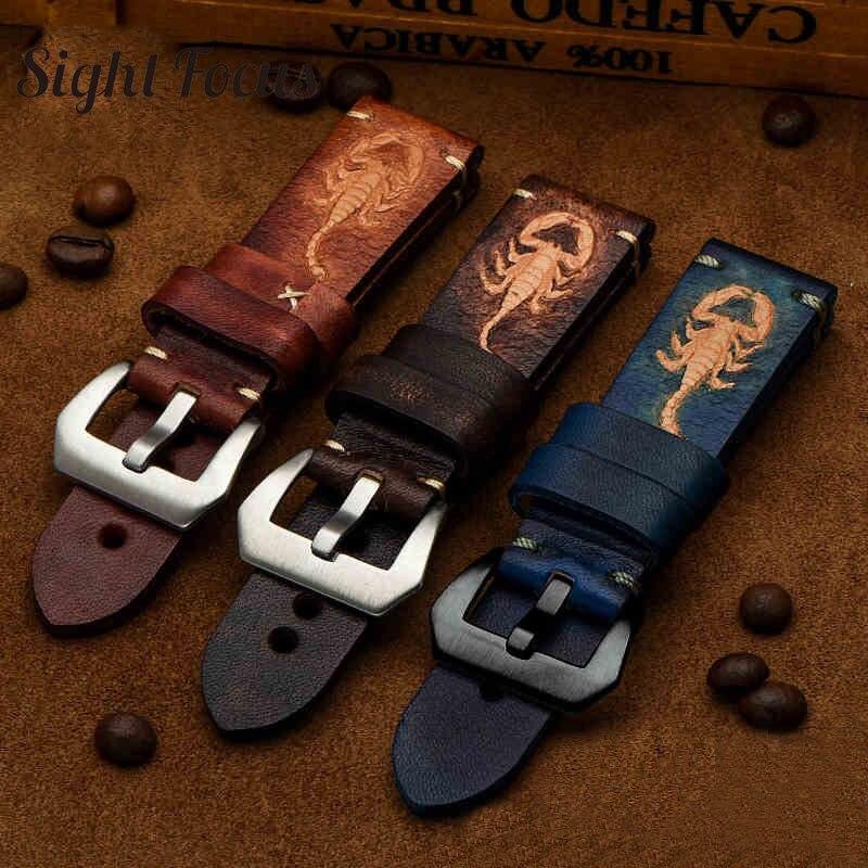 Constellation Scorpion Main Bracelet pour Panerai Italien Veau Peau En Cuir bracelet de montre Noir Brun Bleu 22mm 24mm Bandes Ceinture