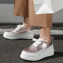 Vulcanized Shoes Womens Trainers Wedges Cow Leather Tennis Sneakers Low Top Party Oxfords Walking Loafers Casual New