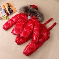 Детей енота меховым воротником куртки + брюки 2 Pc/Sets Дети вниз Костюмы комплекты для мальчиков и девочек теплые лыжные комплекты Водонепрони