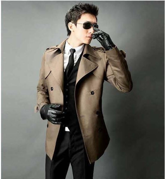 Black red grey khaki brown classic casual double breasted medium-long long coat men trench coat men coat outerwear plus size 9XL