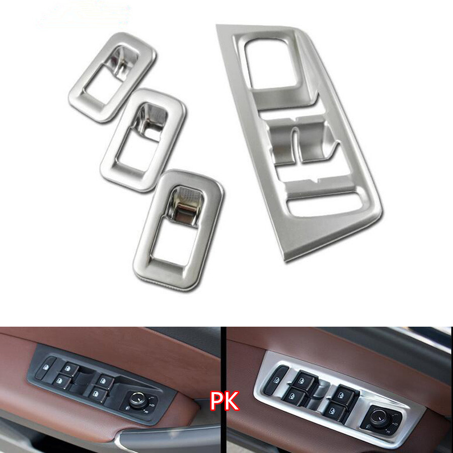 4Pcs/set ABS Car Interior Door Handle Armrest Window Lift Button Switch Frame Trim Cover For Volkwagen Touran 2016 2017 LHD interior door window glass lifter switch armrest cover car styling stickers for ford explore 2015 abs chrome car accessories