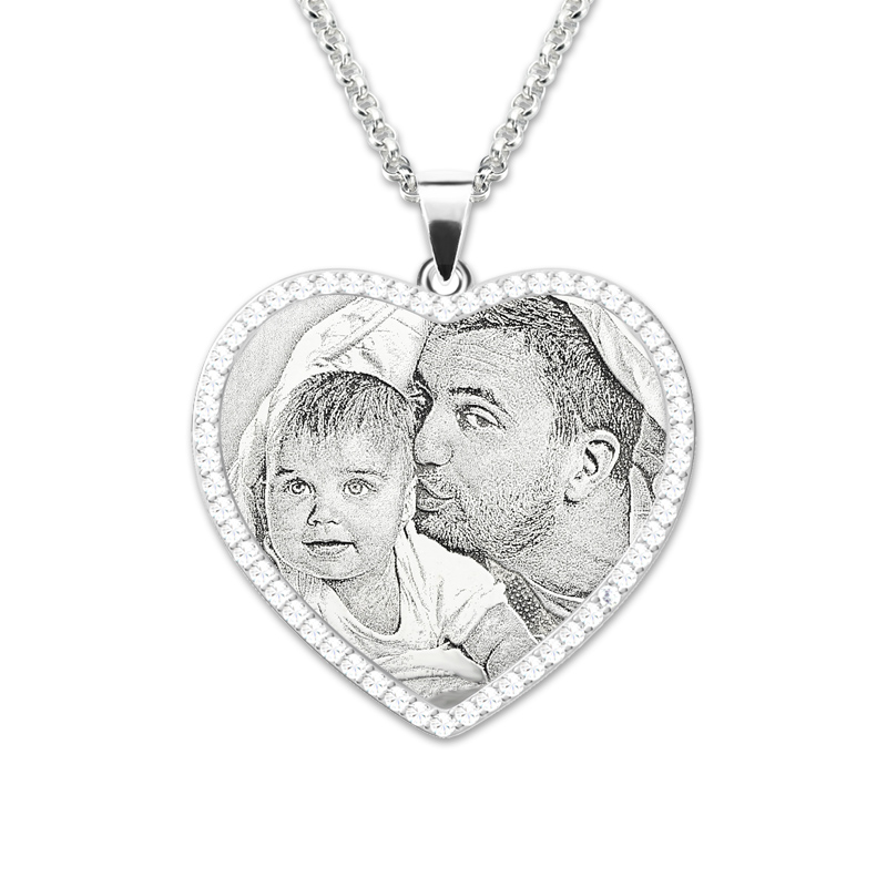 AILIN Esterlina Colar de Prata Foto Personalizada Foto Personalizada Gravado Coração Birthstones Colar Memorial Presente para Ela