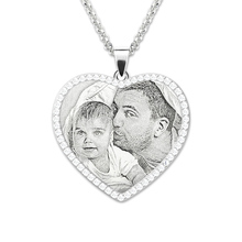 AILIN Sterling Silver Custom Photo Necklace Personalized Photo Engraved Heart Birthstones Necklace Memorial Gift for Her