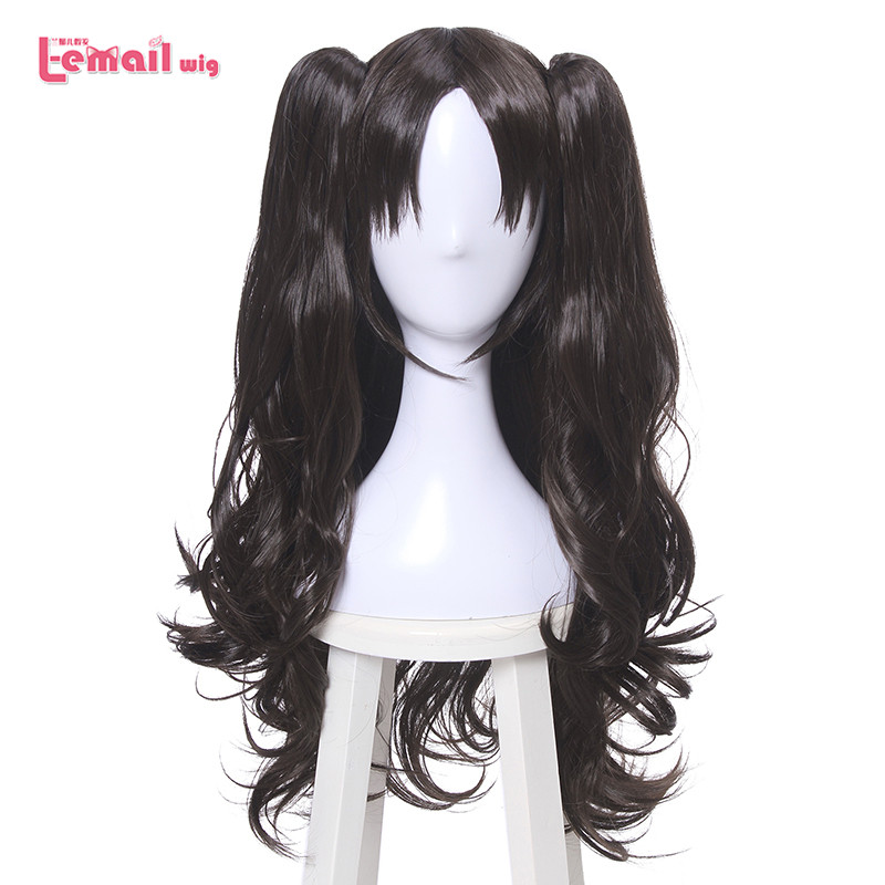 L-email Wig Game Fate/Stay Night Rin Tohsaka Cosplay Wigs FGO Cosplay Long Loose Wave Pontails Wig Heat Resistant Synthetic Hair
