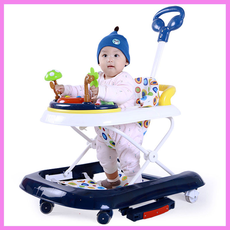 Baby Walker with Wheels Child Walking Assistant Anti Rollover Multi-function Hand Push Walker Car Folding Music Rocking Hose original fisher price multi function baby walker lion car children activity musical baby walker with wheels adjustable car