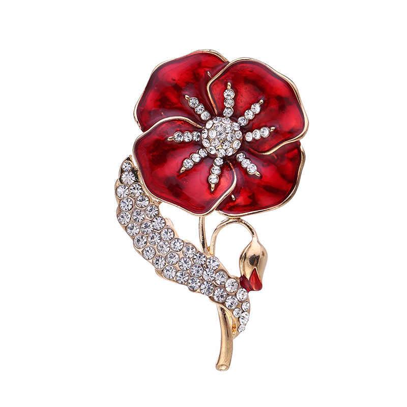 حجر الراين الخشخاش دبابيس المملكة المتحدة الأميرة تذكارية دبوس زهرة بروش دبوس
