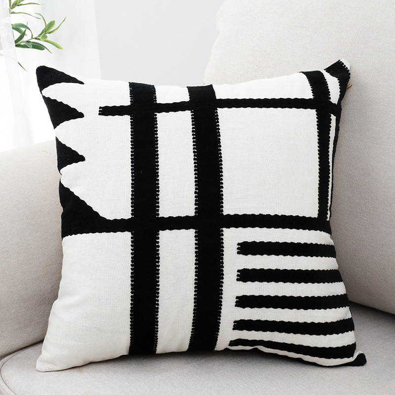 Simple Geometric Embroisery Pillow Case Comfortable High Quality Pillow Cover For Living Room Bedroom Soft Cushion Cover 45 45cm in Cushion Cover from Home Garden