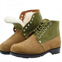 цена на Warm Army Boots Men's Snow Boots Big Head Leather Shoes Winter Wool Warm Shoes Workwear  Daddy Boots Shearling Cow Suede