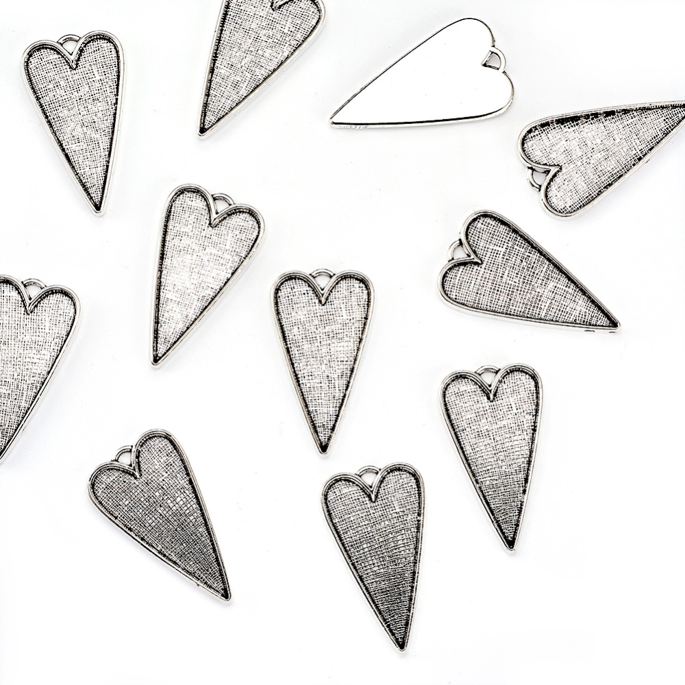 50pcs 53.5x30mm <font><b>Tibetan</b></font> <font><b>Style</b></font> Alloy Heart Large <font><b>Pendant</b></font> Cabochon Bezel Settings, Antique Silver, <font><b>Lead</b></font> <font><b>Free</b></font> <font><b>and</b></font> <font><b>Cadmium</b></font> <font><b>Free</b></font>