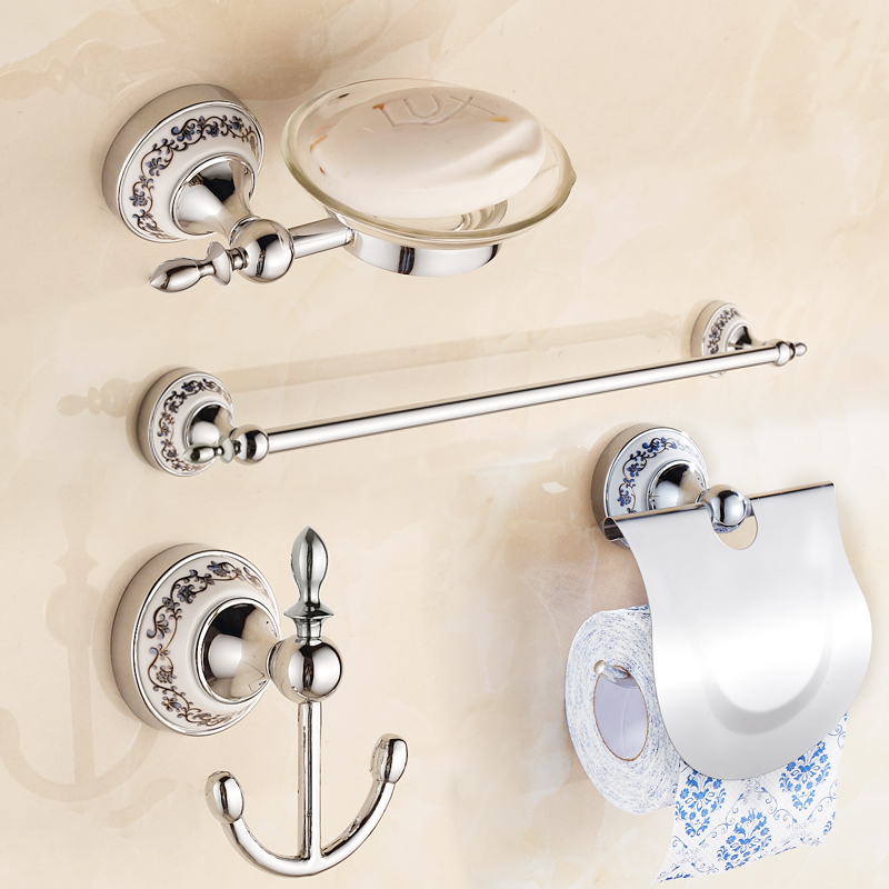 free shipping porcelain Stainless Steel CHROME Bathroom Accessories Set Soap dish Robe hook Paper Holder Towel Bar pcs/set leyden towel bar towel ring robe hook toilet paper holder wall mounted bath hardware sets stainless steel bathroom accessories