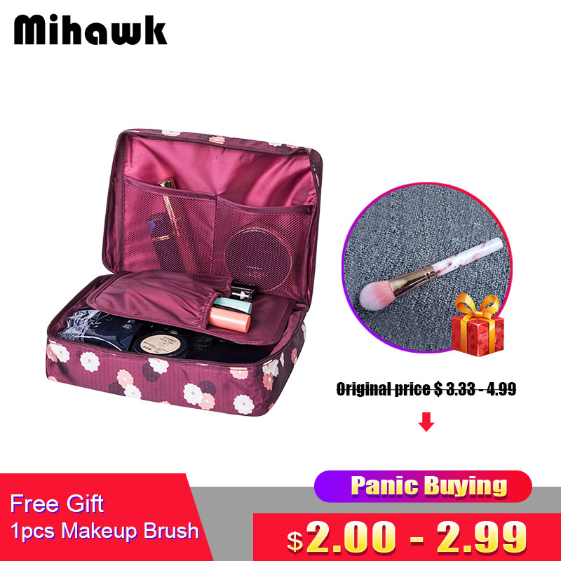Mihawk Beautician Vanity Necessaire Trip Women Travel Toiletry Wash Bra Underwear Makeup Case Cosmetic Bag Organizer Accessories 2017 new beautician necessarie vanity pouch necessaire trip beauty women travel toiletry kit make up makeup case cosmetic bag