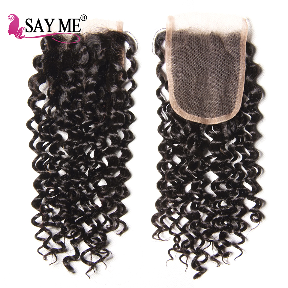 Говорят мне волосы афро странный вьющиеся переплетения человеческих волос Связки с кружевом Закрытие Реми бразильские плетение волос 3 Свя...