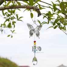 Handmade Butterfly Crystal Ball Prism Rainbow Maker With Octagon Beads, Home Hanging Sun-catcher Ornament