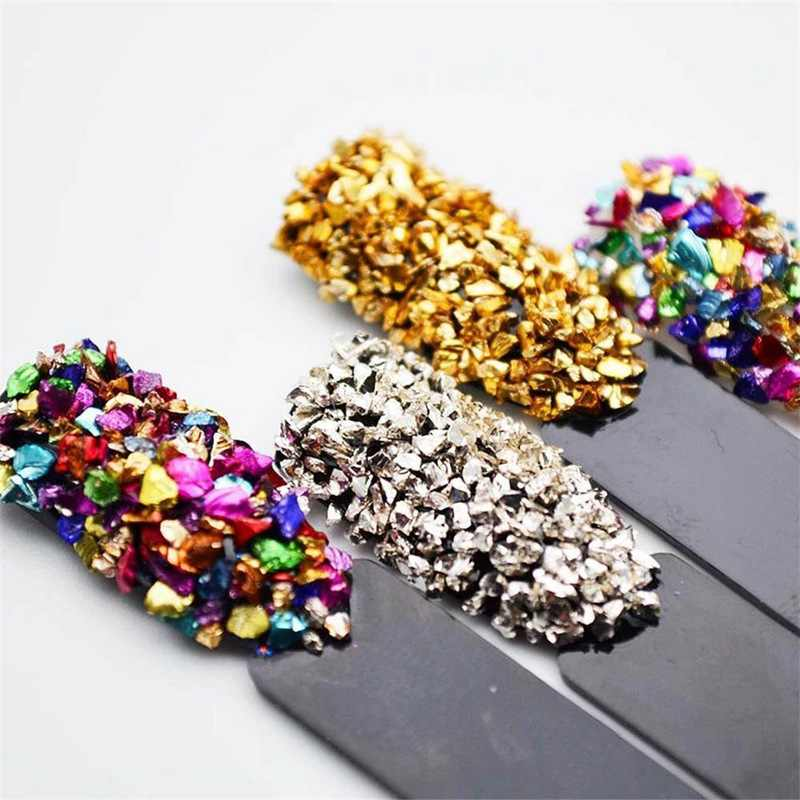 新しいファッションガラス爪の装飾のため不規則な石ネイルミックス宝石ネイルアートマニキュア天然石