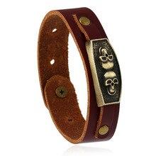 2017 New design fashion Brown 23cm Leather Bracelets cool skeleton skull bracelet personalised mens leather bracelet best gift