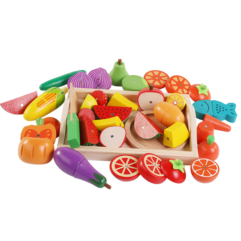 2017 New Wooden Kitchen Toys Cutting Fruit Vegetable Play miniature Food educational toy Gift Children Kid Educational Toys ...