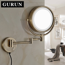 GURUN 8 Inch 10X Magnifying Makeup Mirror Led Lights Wall Mounted Extend Bathroom Folding Shave Cosmetic Mirror Two Side M1809DQ