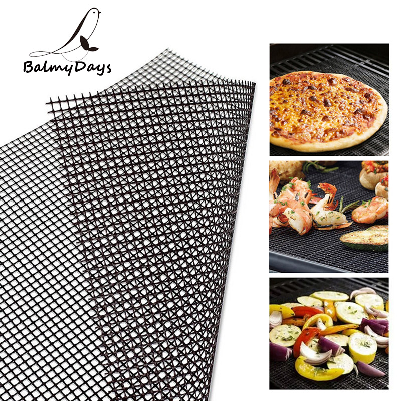 BBQ Grill Mat Reusable Kitchen Cooking Mesh Grill Mat Non-stick Teflon Grilling Mesh Mat Barbecue Liner Outdoor BBQ Accessories