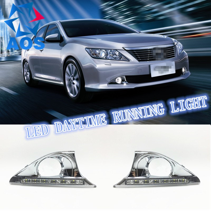 2PCS New Style LED DRL Car daylight Daytime Running Lights for Toyota Camry Aurion 2012 2013 2014 with Turn Signal lamp Function 4 pcs carbon fiber interior trim with cherry wood interior refit the new camry car for 2012 2013 2014 2015 camry 4 pcs fa