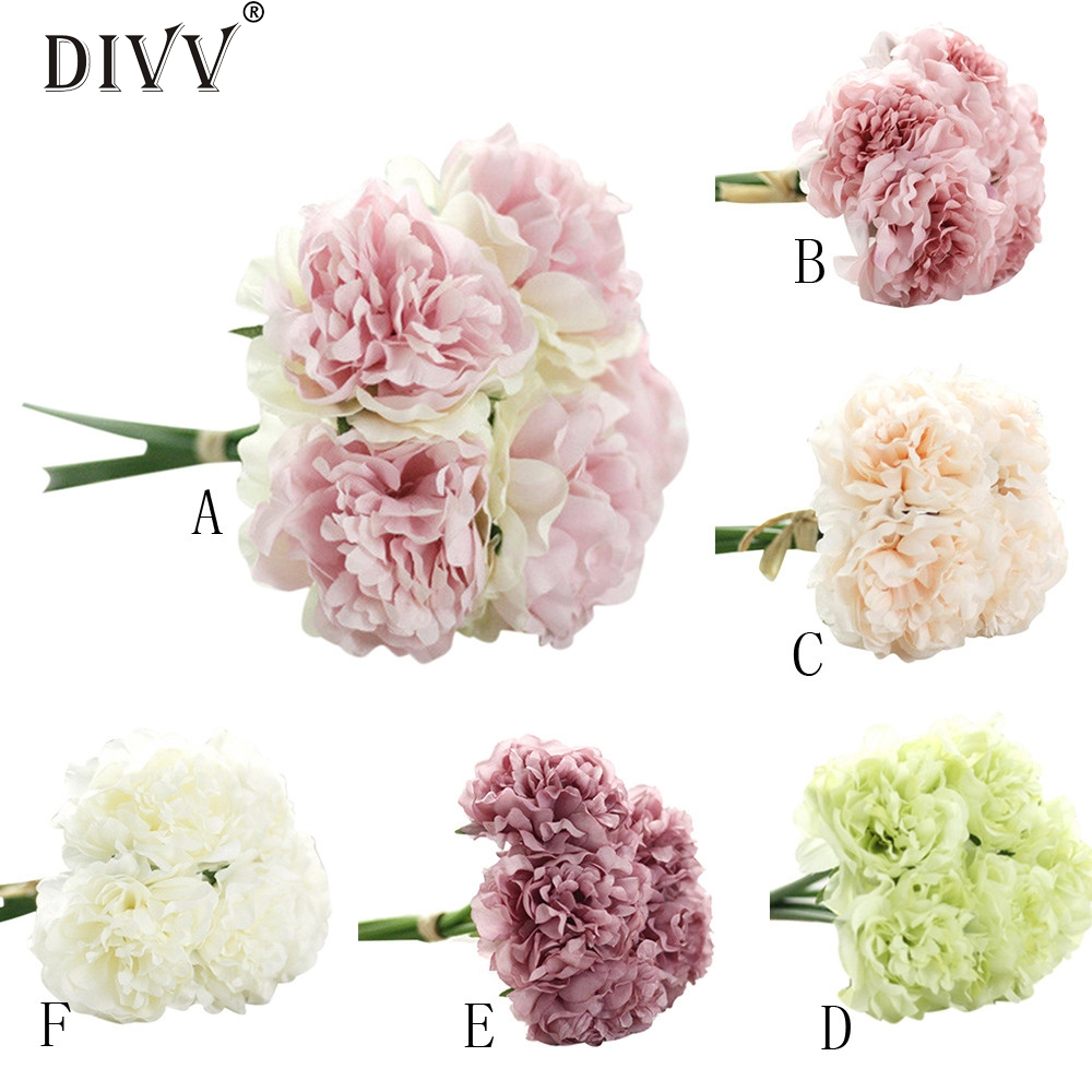 My House Decor Artificial Silk Fake Flowers Peony Floral Wedding