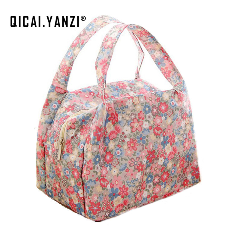 QICAI.YANZI 2017 New Lunch Bags Pouch Storage Box Flowers Insulated Thermal Cooler Bag Picnic Tote Bolsa Termica Lancheira N563 outdoor camping hiking picnic bags portable folding large picnic bag food storage basket handbags lunch box keep warm and cold