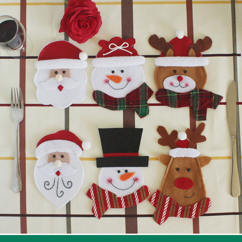 6Pcs Christmas Ornament New Year Christmas Decoration for Home Table Decor Cutlery Pocket Fork&Knife Tableware Pouch Santa Claus ...