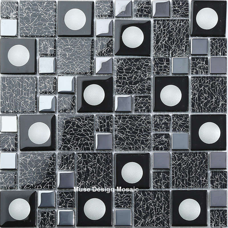 New Arrival Luxury Black Electroplate Glass Mosaic Wall Tiles For Kitchen Backsplash Backdrop Hallway Diy Wall Sticker Wallpaper