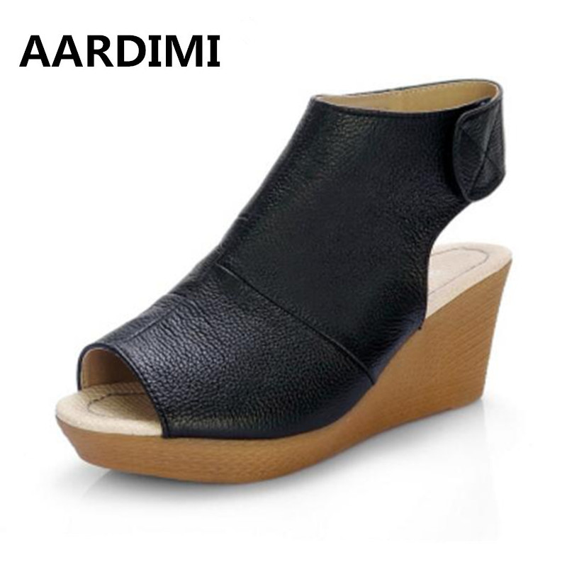 New 2017 genuine leather platform shoes woman summer peep toe women sandals fashion solid wedges women shoes height increasing women sandals 2017 summer style shoes woman wedges height increasing fashion star gladiator platform female ladies shoes casual