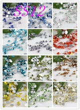 1440pcs /bag SS12 Many Colors Nail Art Crystals Glass Non HotFix FlatBack Rhinestones, Glitters Glue stones