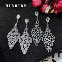 HIBRIDE New Arrival Beauty Blue CZ Stone Women Fashion Jewelry Drop Earring Brincos White Gold Color Wholesale Price E-631