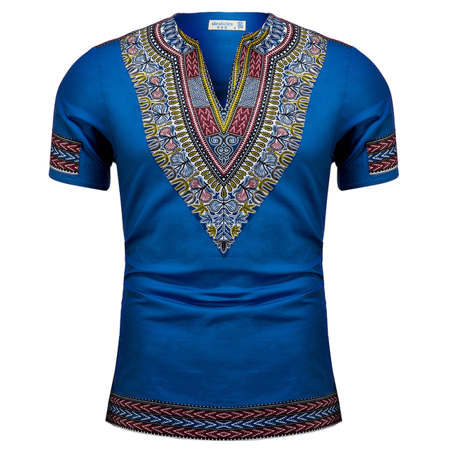 African Tradition Clothes Men's African Print Shirt Dashiki Fashion T-Shirt Tops 2