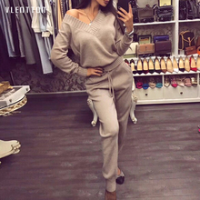 цены Women Sweat Suit Set 2019 Autumn Winter Casual Pink Long Sleeve Sweater and Pants Two Pieces Set Sexy Knit Tracksuit For Ladies