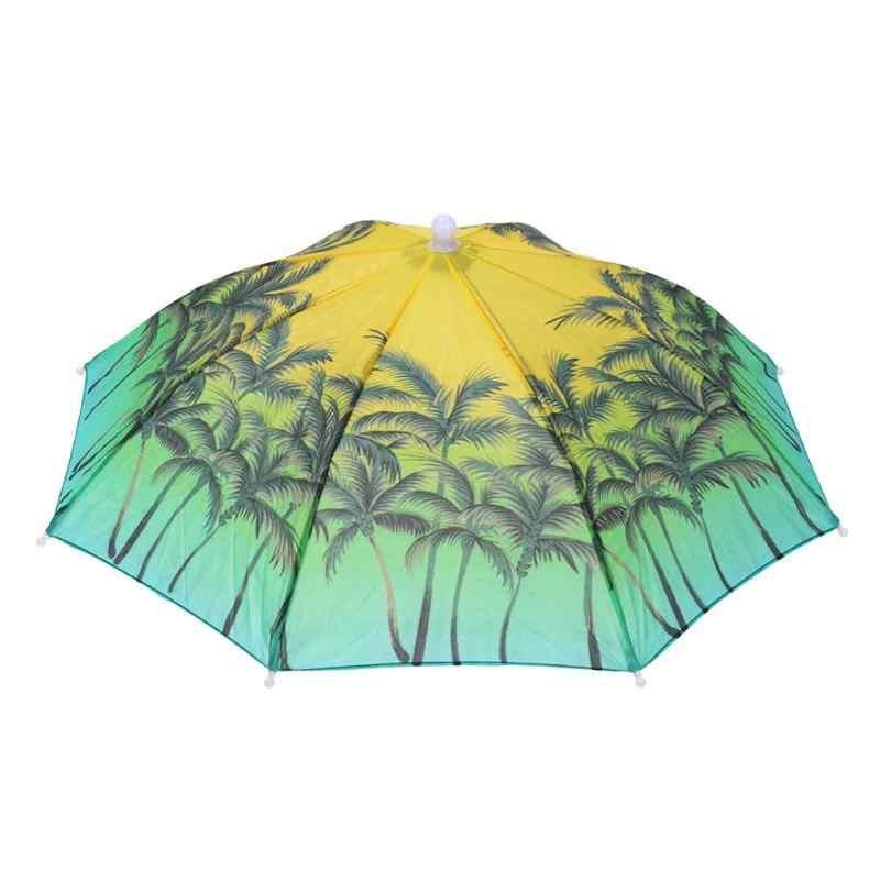 Plegable sombrero con paraguas sombrilla para la cabeza para la pesca senderismo playa Camping gorra cabeza sombreros al aire libre deportes lluvia suministros