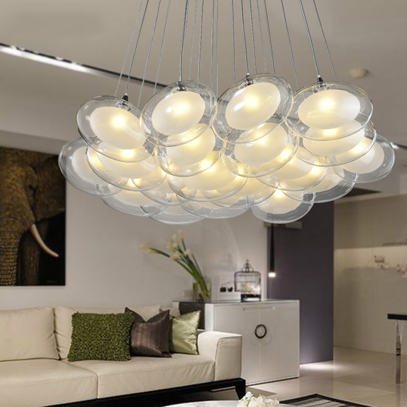 Post modern swan egg ellipse glass ball pendant light fixture home deco creative DIY double deck glass G4 LED bulb pendant lam