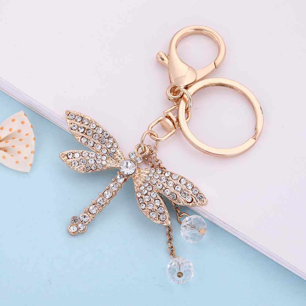 US $2 88  Teamer dangle keychain shining crystal dragonfly with point drill  process jewelry birthday gift christmas gift meaning freedom-in Key Chains