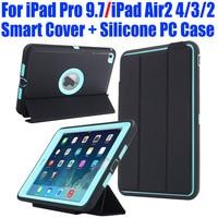 Cho iPad Pro 9.7 iPad Air2 4/3/2 Trường Hợp Smart Cover + Trẻ Em Silicone An Toàn Armor Chống Sốc Heavy Duty với Bảo Vệ Màn Hình I613