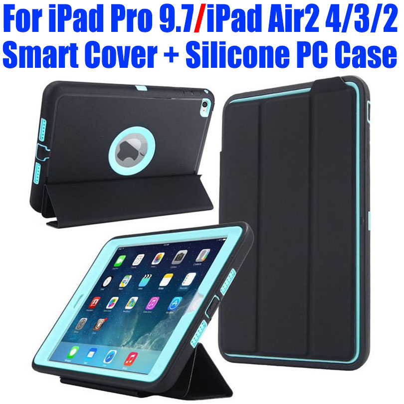 For iPad Pro 9.7 iPad Air2 4/3/2 Case Smart Cover + Silicone Kids Safe Armor Shockproof Heavy Duty with Screen Protector I613 nice flexible tpu silicone case for apple new 2017 ipad 9 7 cover protect smart cover partner clear transperent bottom back case