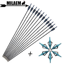 6/12pcs Archery Carbon Arrow With 100Gr Blade Arrowhead Spine 500 31.5inch ID6.2mm OD7.8mm Compound Recurve Shooting Accessories