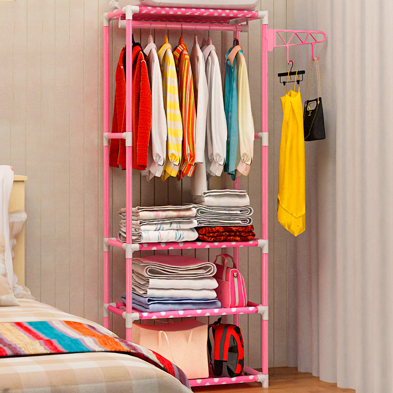 Clothes Rack Home Furniture Living Room Bedroom Floor Coat Hanger Shelf Assembly DIY Shelves Hat Racks Clothing Stand stand hanger rak lemari pakaian serbaguna tanpa cover