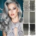 24 pulgadas de Color Gris de Fibra Resistente Al Calor Pinza de Pelo Sintético En Extensiones de Cabello Negro A Gris Mujeres Extensión Del Pelo