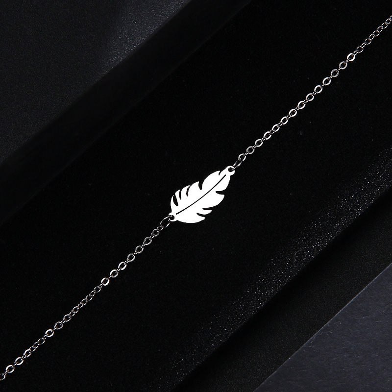 CACANA Stainless Steel Sets For Women Feather Shape Necklace Bracelet Earring Jewelry Lover's Engagement Jewelry S379 8