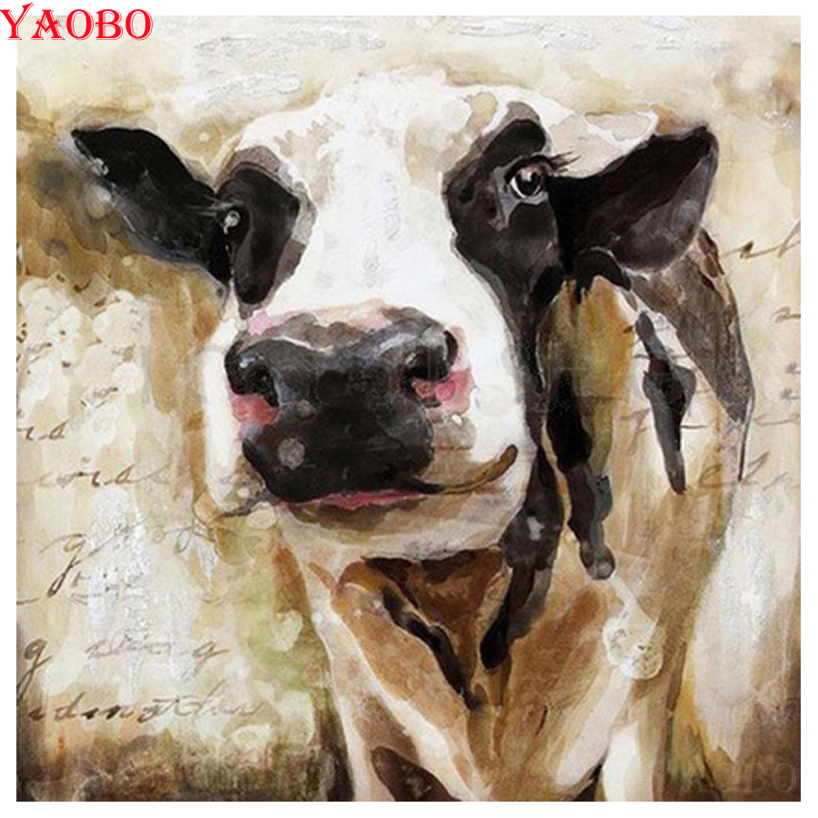 5D Diamond Embroidery colorful cow full round Diamond Painting Cross Stitch  X